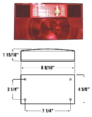 (10422) PETERSON SURFACE MOUNT TAIL LIGHT  LENS FOR 55-7852 WITH LICENSE AND BACK UP LIGHT