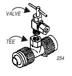 FLAIR-IT INLET TEE & BRASS VALVE ASSEMBLY 1/2X1/8