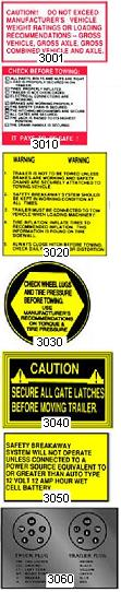 WARNING AND SPECIFICATION DECALS