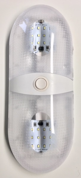 19599 - LED DOUBLE DOME LIGHT WITH PANCAKE STYLE BULB - DAYLIGHT WHITE