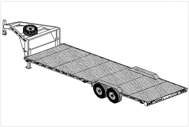 26' gooseneck flatbed car carrier trailer plan