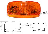 RECTANGULAR TWO BULB CLEARANCE/SIDEMARKER LIGHT